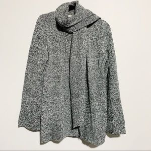Gray / Black Sweater Open Front Cardigan, Large